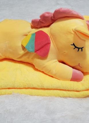 Мягкая игрушка- плед трансформер  единорог жёлтый