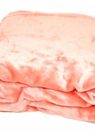Двухспальный плед оранжевый велсофт-махра