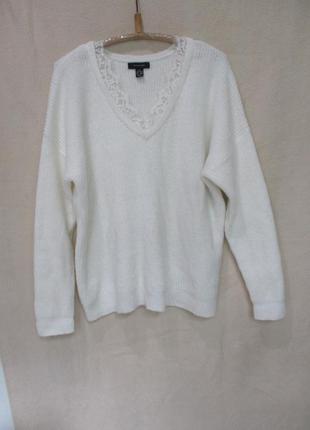 Мягенький белый свитер с кружевом/батал uk 18-20/52-54 рр