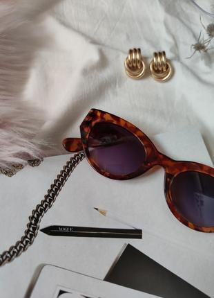 Очки окуляри леопард солнце солнцезащитные стиле 60-х трендовые новые uv4004 фото