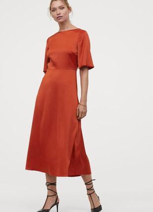 Платье, плаття, сукня, міді, миди, терракотовое, терракотова, сатиновое, сатинова, h&m