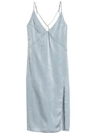 Платье, плаття, сукня, міді, миди, сарафан, голубое, голубе, сатиновое, сатинова, h&m