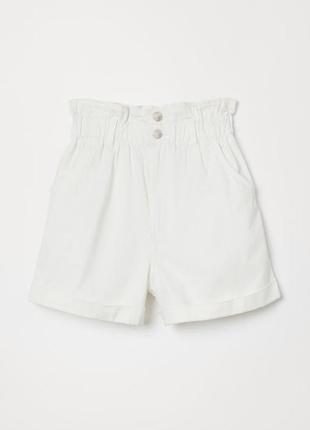 Шорты, джинсовые, шорти, джинсові, белые, білі, котоновые, на резинці, на резинке, h&m