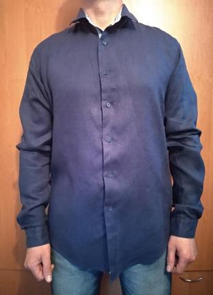 Крутая мужская льняная рубашка лён пог-55 см