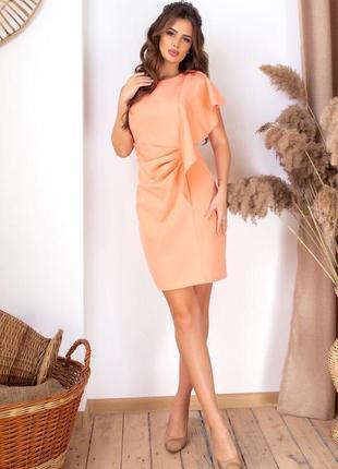 Оригинальное прямое платье абрикосовое2 фото