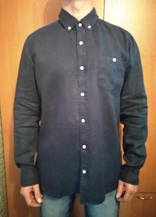Крутая мужская льняная рубашка лён пог-59 см