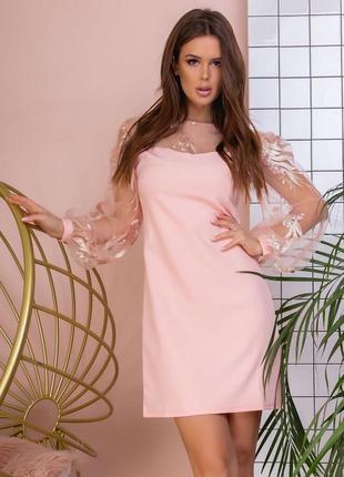 Платье воздушный рукав розовое1 фото