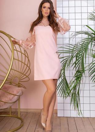 Платье воздушный рукав розовое2 фото