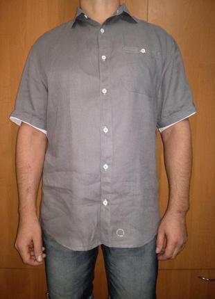 Крутая мужская льняная рубашка лён пог-58 см