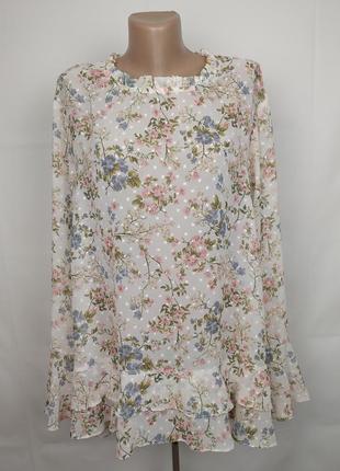 Блуза легкая цветочная большого размера george uk 24/52/5xl