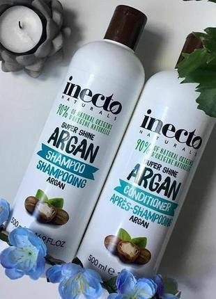 Набір зволожуючий шампунь + кондиціонер для блиску волосся з аргановою олією inecto