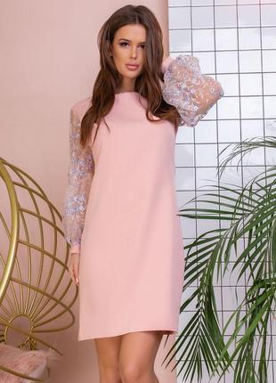Платье мини абрикосовое