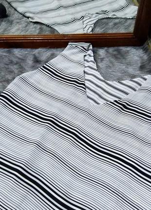 Sale двухслойная блуза кофточка топ в черно-белую полоску peacocks2 фото