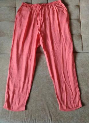 Лёгкие летние вискозные брюки кораллового цвета, размер xxxl