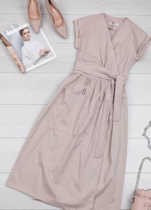 Летнее стильное миди платье на запах, рукава с отворотами