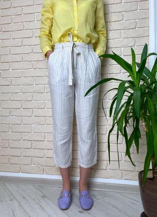 Белые брюки в полоску, льняные под пояс легкие