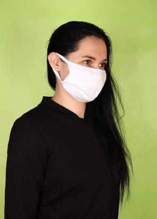 Тканевая маска белая двухслойная хлопок