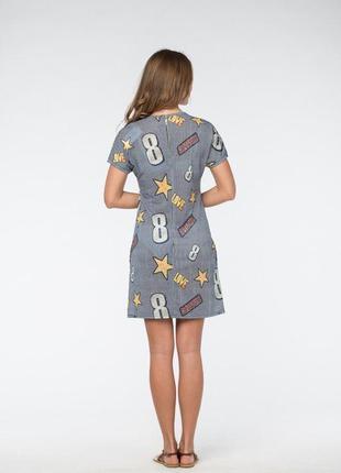 Платье трикотажное с узором3 фото