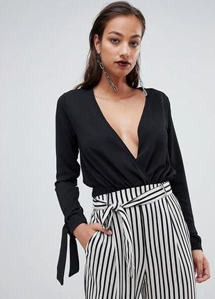 Боди блуза на запах черная