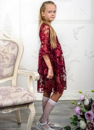 Детское платье очаровательное бордовое3 фото