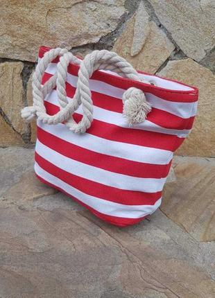 Женская трапчаная сумка с канатными ручками