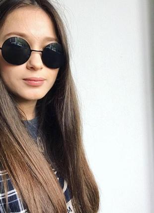 Очки солнцезащитные круглые чёрные унисекс модные классные новые