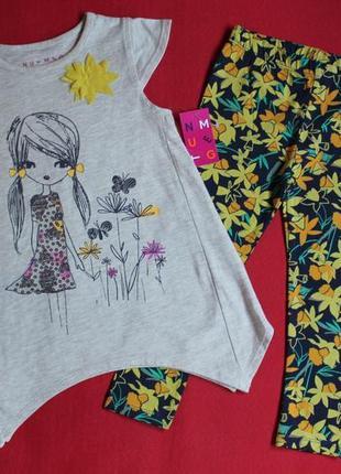 Комплект,костюм футболка и лосины nutmeg для девочки 3-4 года