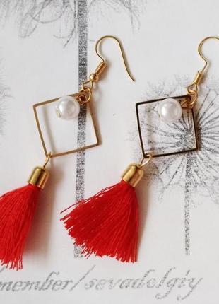 Распродажа! золотистые длинные серьги красные китички нити жемчужина бижутерия сережки