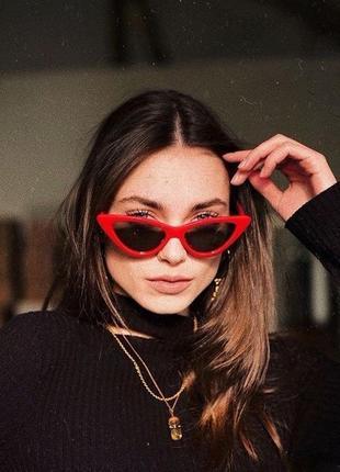 Очки окуляри красные черные солнце солнцезащитные кошачий глаз кошки новые