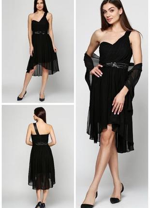 Платье чёрное шифоновое нарядное коктейльное