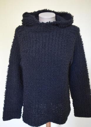 Шикарная стильная теплая кофточка с капюшоном  с шерстью вязка петли черная