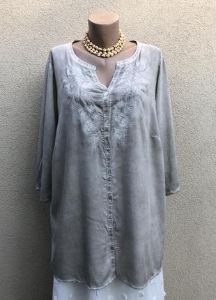 Штапельная блуза,рубаха с вышивкой,этно бохо стиль,большой размер