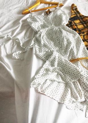 Шикарна міді сукня в горошок під пояс tu woman