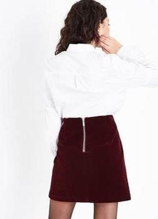 Трендовая вельветовая юбка трапеция с замком