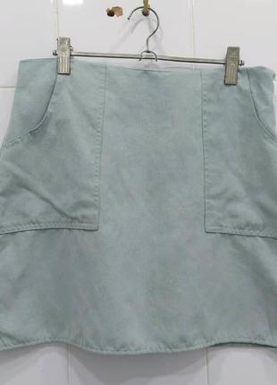 Мятная юбка трапеция под замшy с карманами