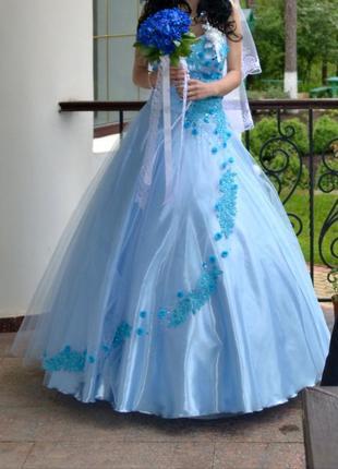 Свадебное голубое платье ручной работы