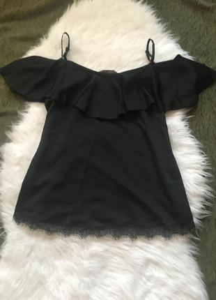 Нарядная блузка с открытыми плечами с широкой оборкой, 12 размер,