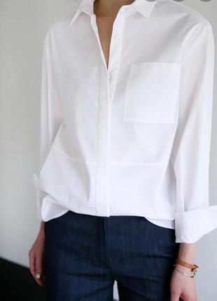 Белоснежная рубашка оверсайз, бойфренд, сорочка, блузка