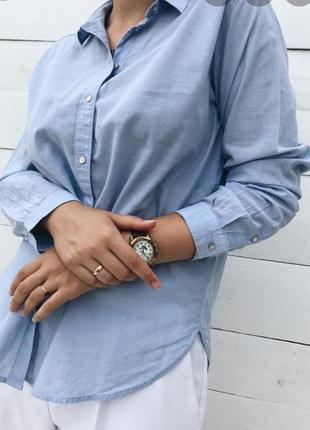 Голубая льяная рубашка с карманом, сорочка, блузка, оверзайз, бойфренд, свободного кроя
