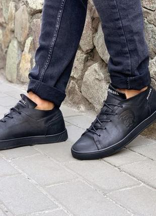 Кеды кроссовки мужские кожаные diesel черные