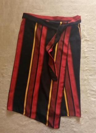 Новая юбка миди в полоску с фиксированным запахом размер 10-12 george