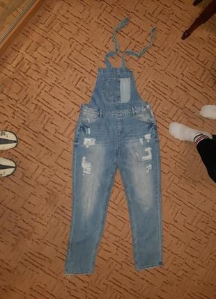 Джинсовый комбинезон (рваный джинс)