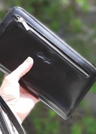 Кожаный мужской кошелёк клатч karya 0704