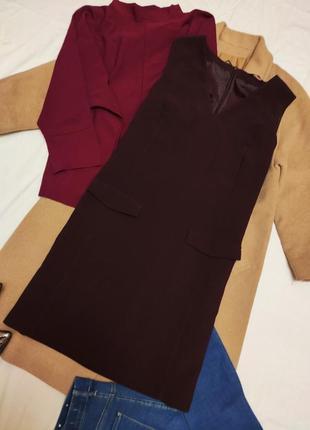 Бордовое бордо марсала классическое прямое платье на подкладке с карманами f&f