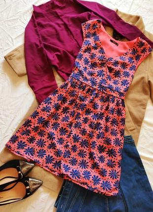 Платье розовое персиковое с синими цветами на подкладке оазис