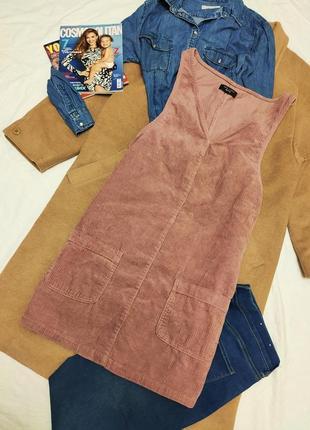 Сарафан платье вельветовый пудровый розовый прямой трапеция с карманами new look