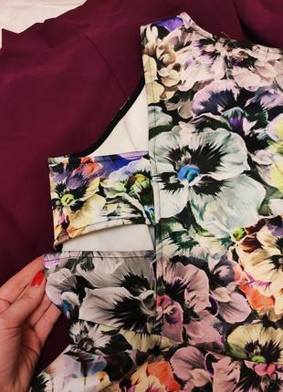 Платье серое фиолетовое чёрное белое цветочное с вырезом на боках большое асос asos4 фото