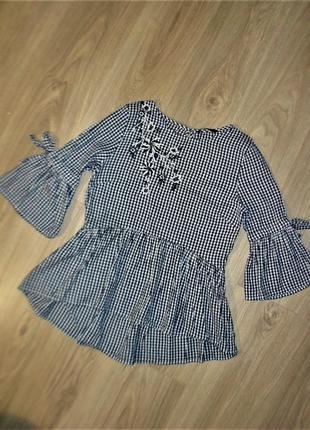 Хлопковая блузка с вышивкой размер 10
