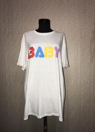 Классная футболка большого размера с актуальным принтом