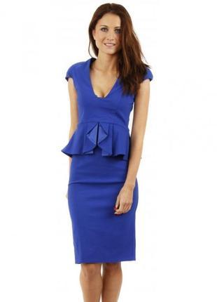 Синее платье миди с баской классическое деловое футляр карандаш с плечиками tempest